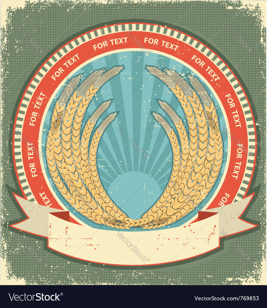 Vintage wheat label vector | Price: 1 Credit (USD $1)