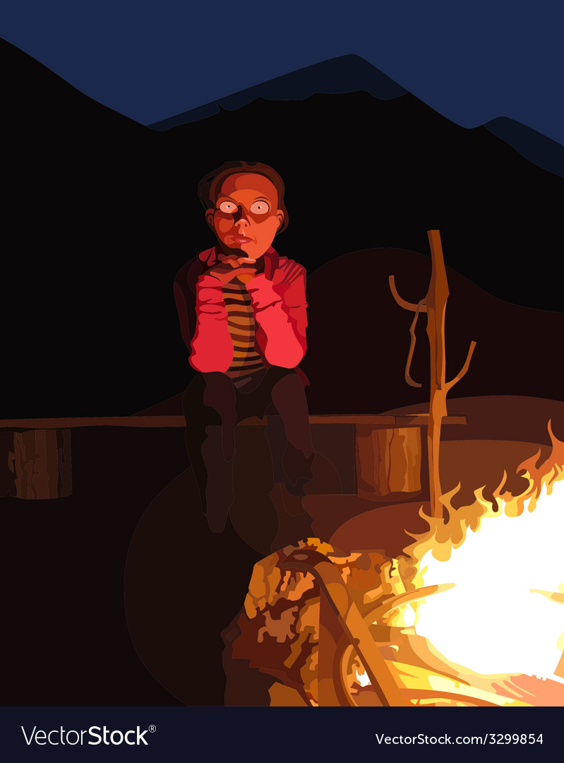 Cartoon man sitting by the campfire at night vector | Price: 1 Credit (USD $1)