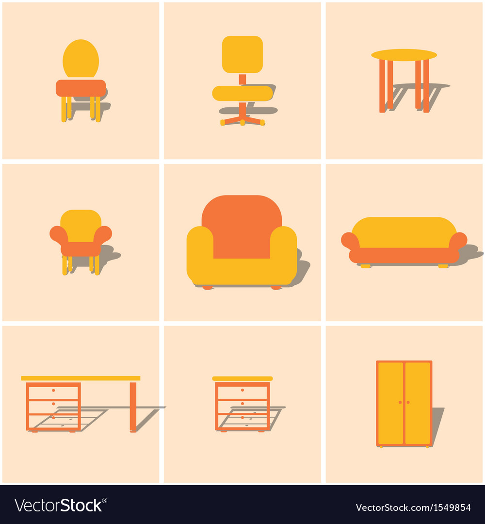 Colored icons furnniture vector | Price: 1 Credit (USD $1)