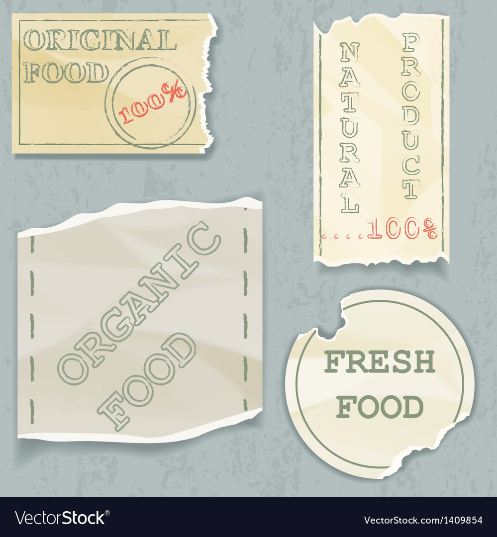 Labels of natural food on scraps of the old paper vector | Price: 1 Credit (USD $1)