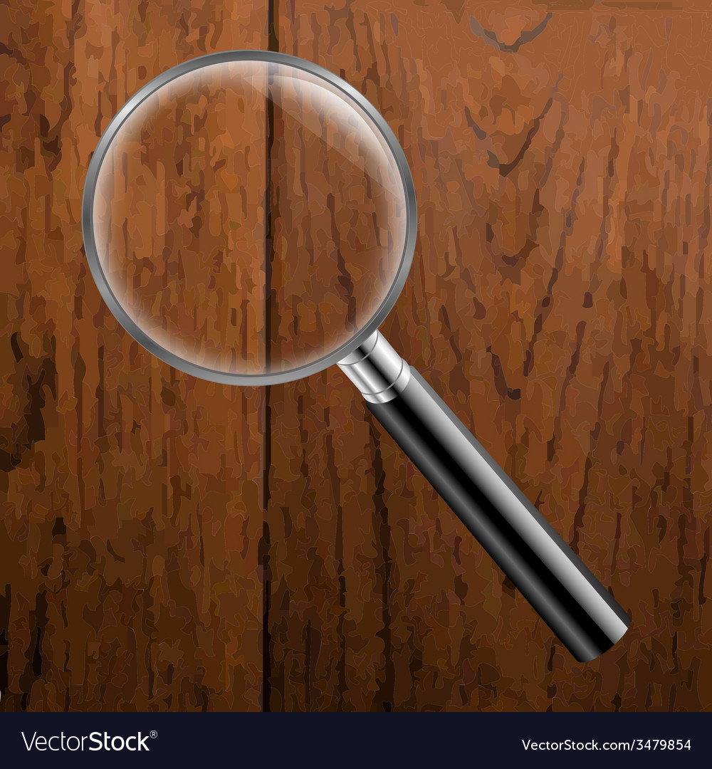 Magnifing glass with wooden background vector | Price: 1 Credit (USD $1)
