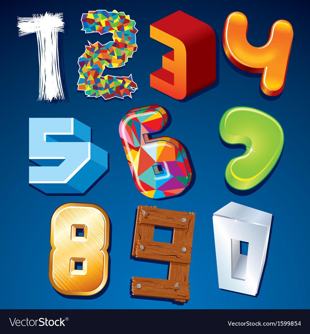 Numeral in various styles design elements vector | Price: 1 Credit (USD $1)