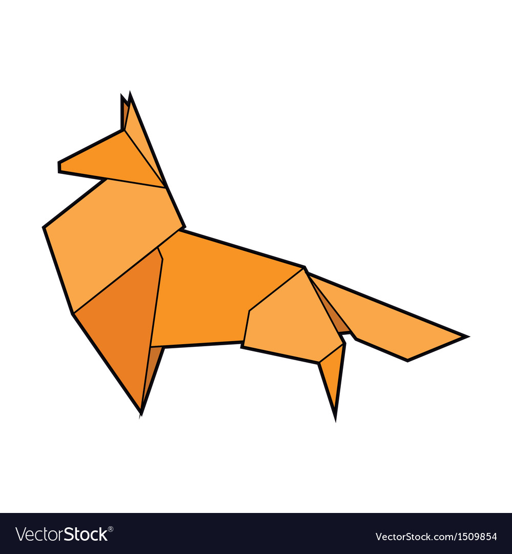 Red paper origami fox vector | Price: 1 Credit (USD $1)