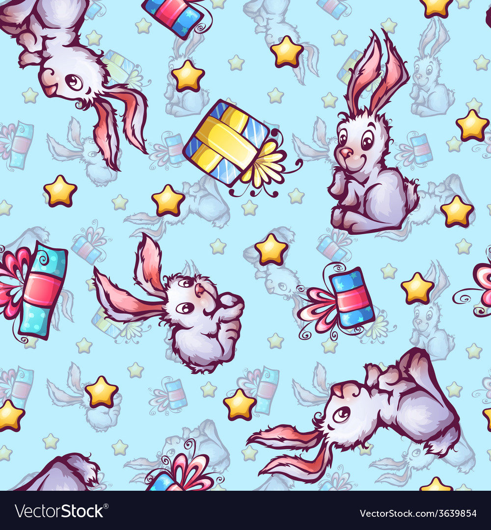 Seamless pattern with cartoon rabbits and gift vector | Price: 1 Credit (USD $1)