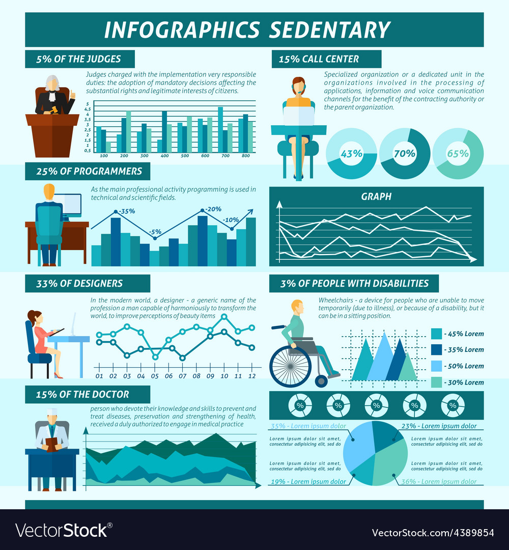 Sedentary infographics set vector | Price: 1 Credit (USD $1)