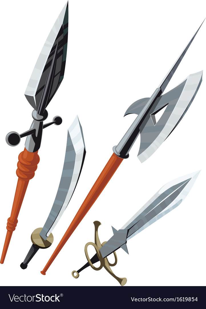 Set of weapons blade angled forward vector | Price: 1 Credit (USD $1)