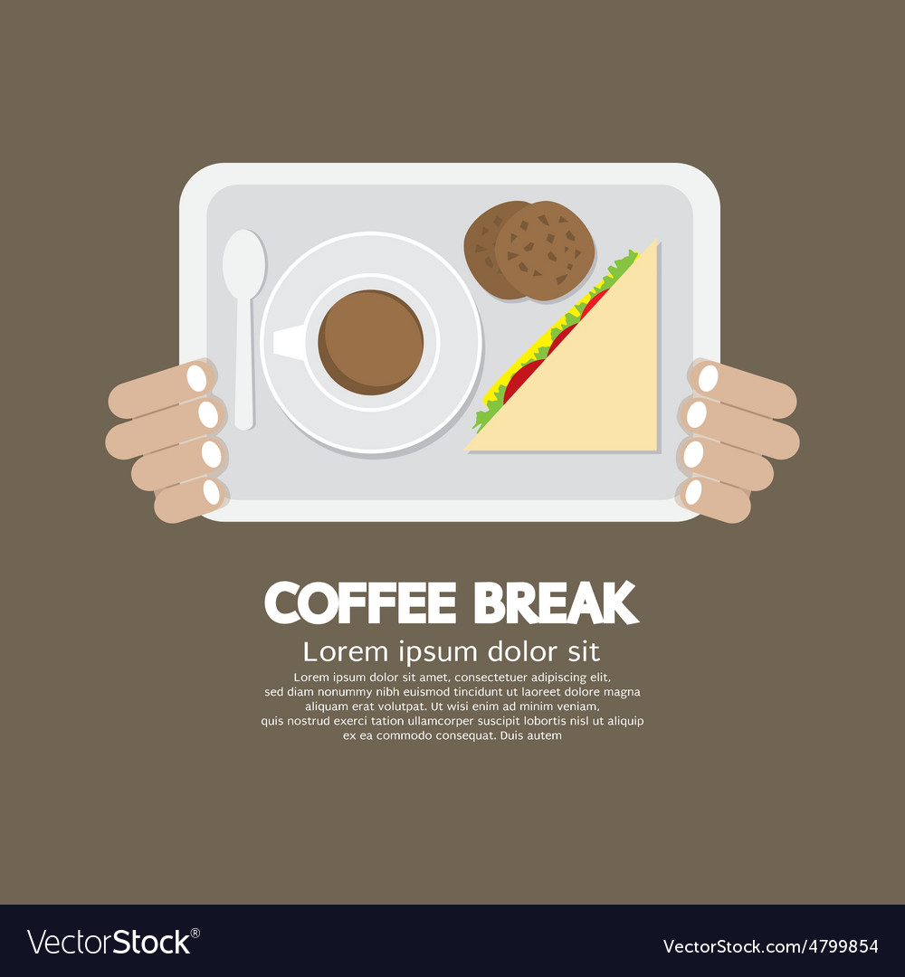 Top view coffee break food and beverage vector