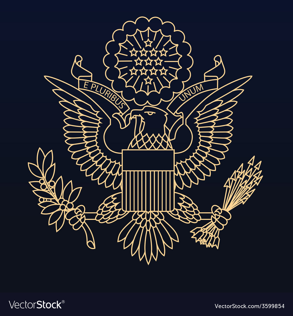 Us passport seal gold on blue vector | Price: 1 Credit (USD $1)