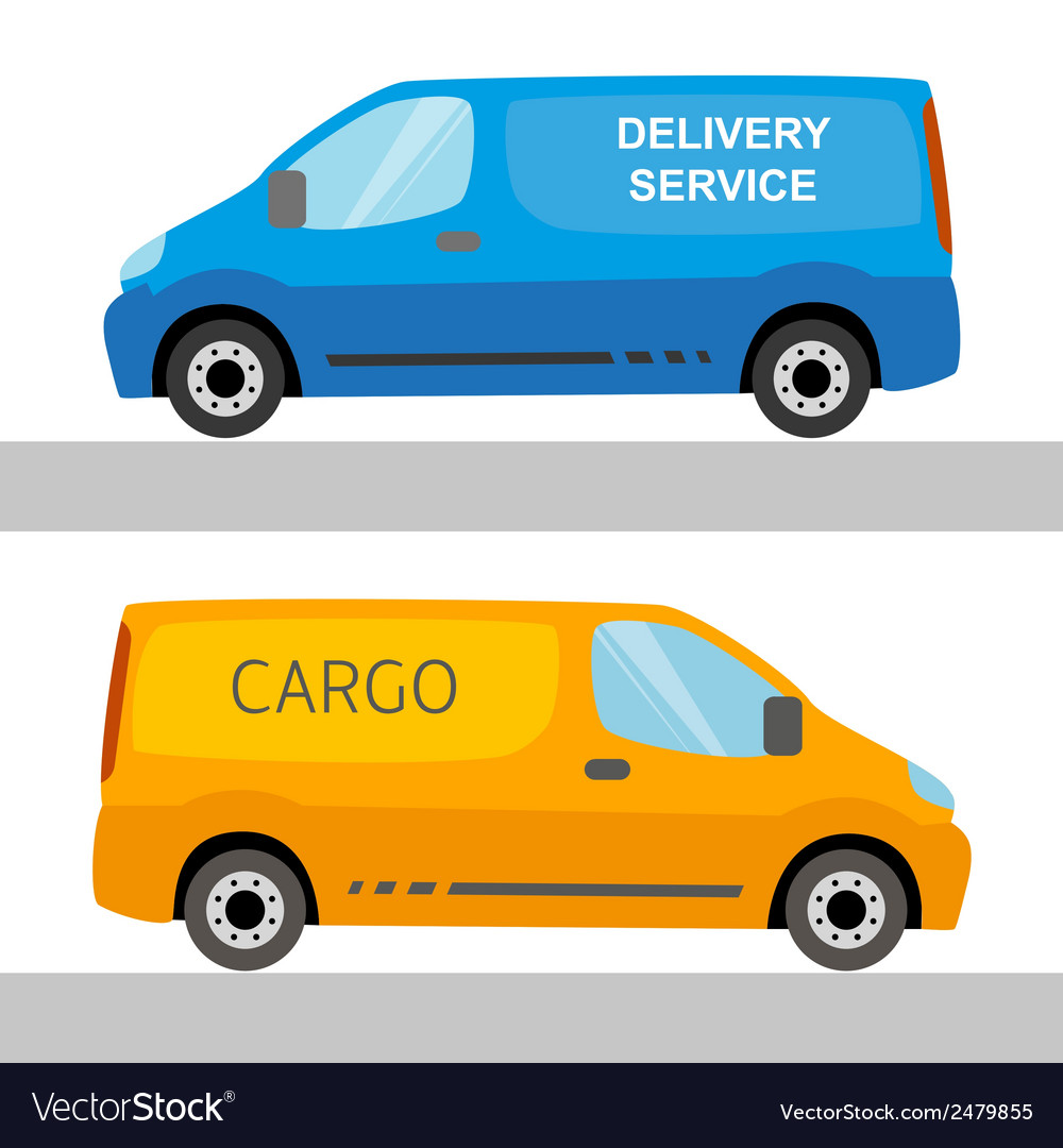Blue and orange delivery vans isolated vector | Price: 1 Credit (USD $1)