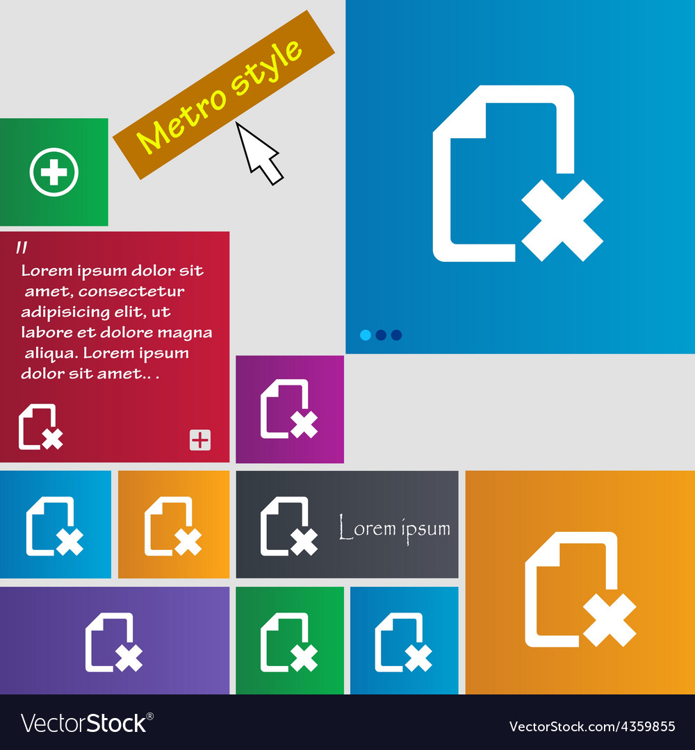 Delete file document icon sign metro style buttons vector | Price: 1 Credit (USD $1)