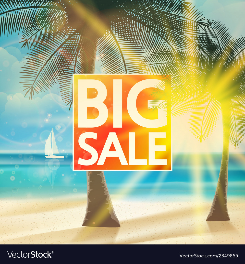 Final summer sale design template with beach vector | Price: 1 Credit (USD $1)
