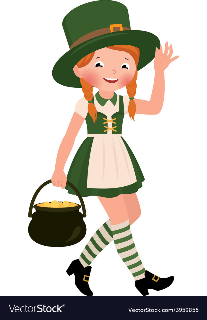 Girl dressed as saint patrick day vector | Price: 1 Credit (USD $1)