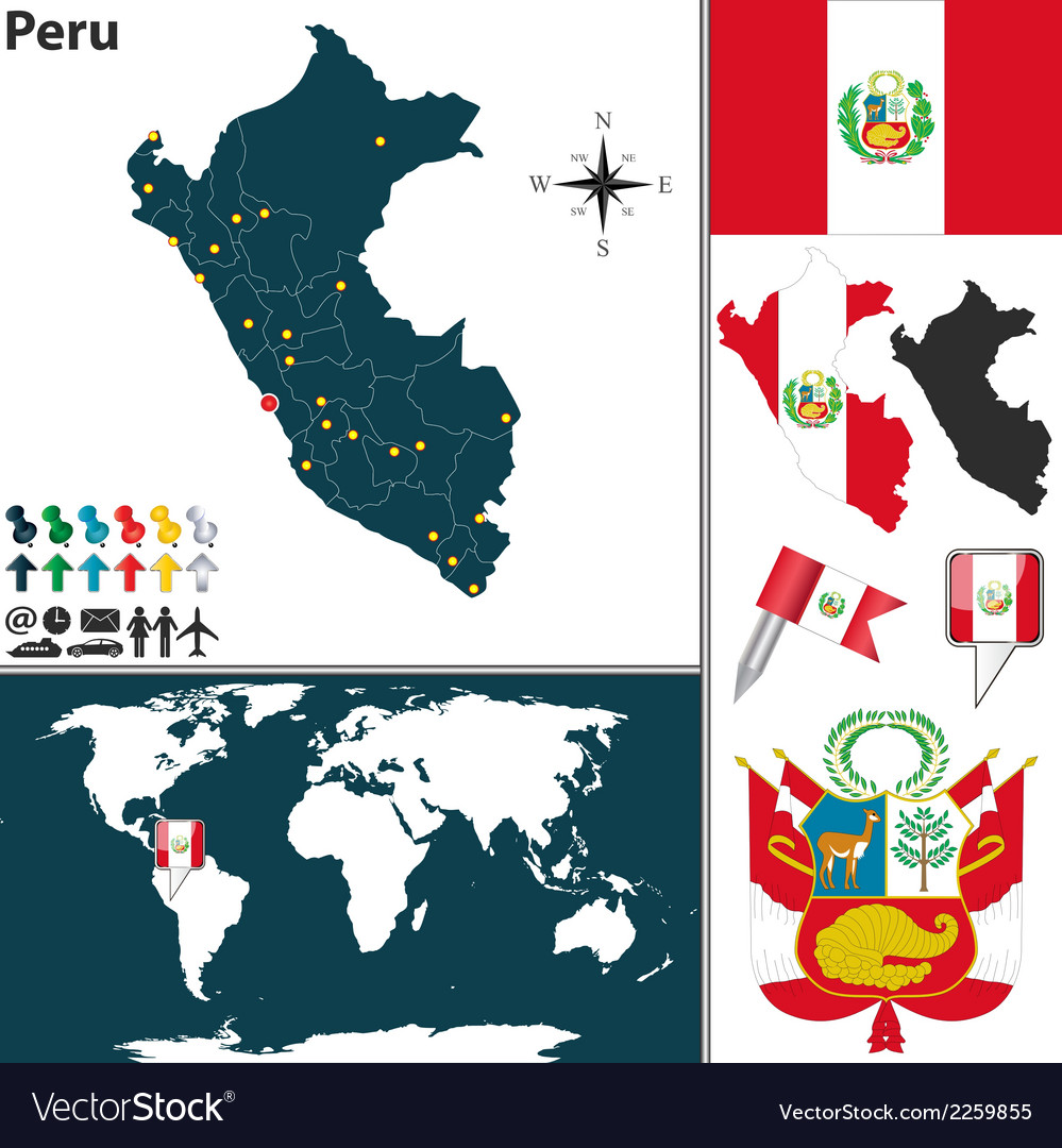 Peru map world vector | Price: 1 Credit (USD $1)
