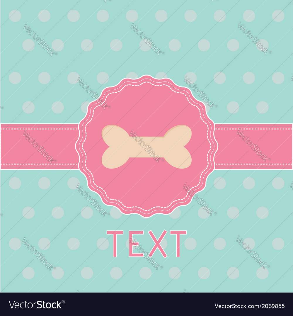 Pink ribbon and label with bone card vector | Price: 1 Credit (USD $1)