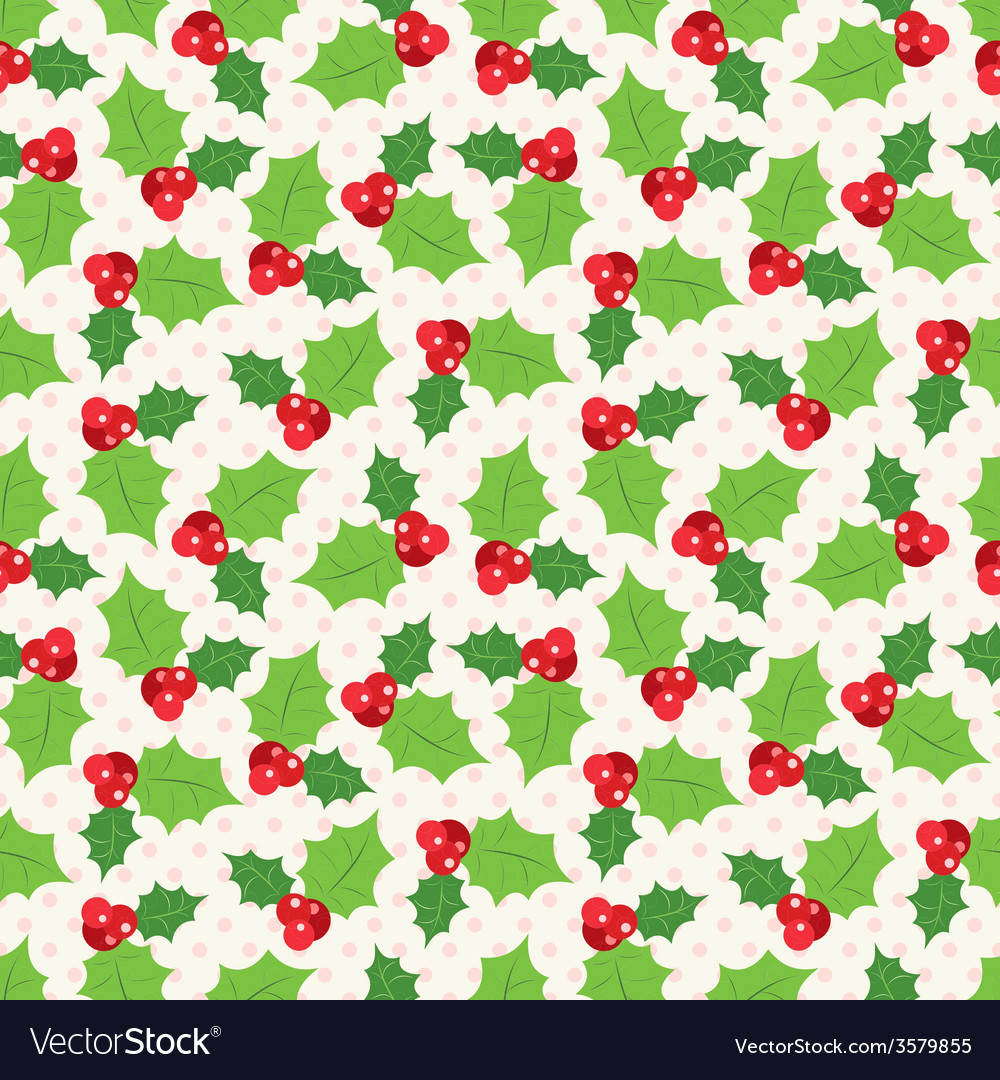 Seamless pattern of holly berry sprig vector | Price: 1 Credit (USD $1)
