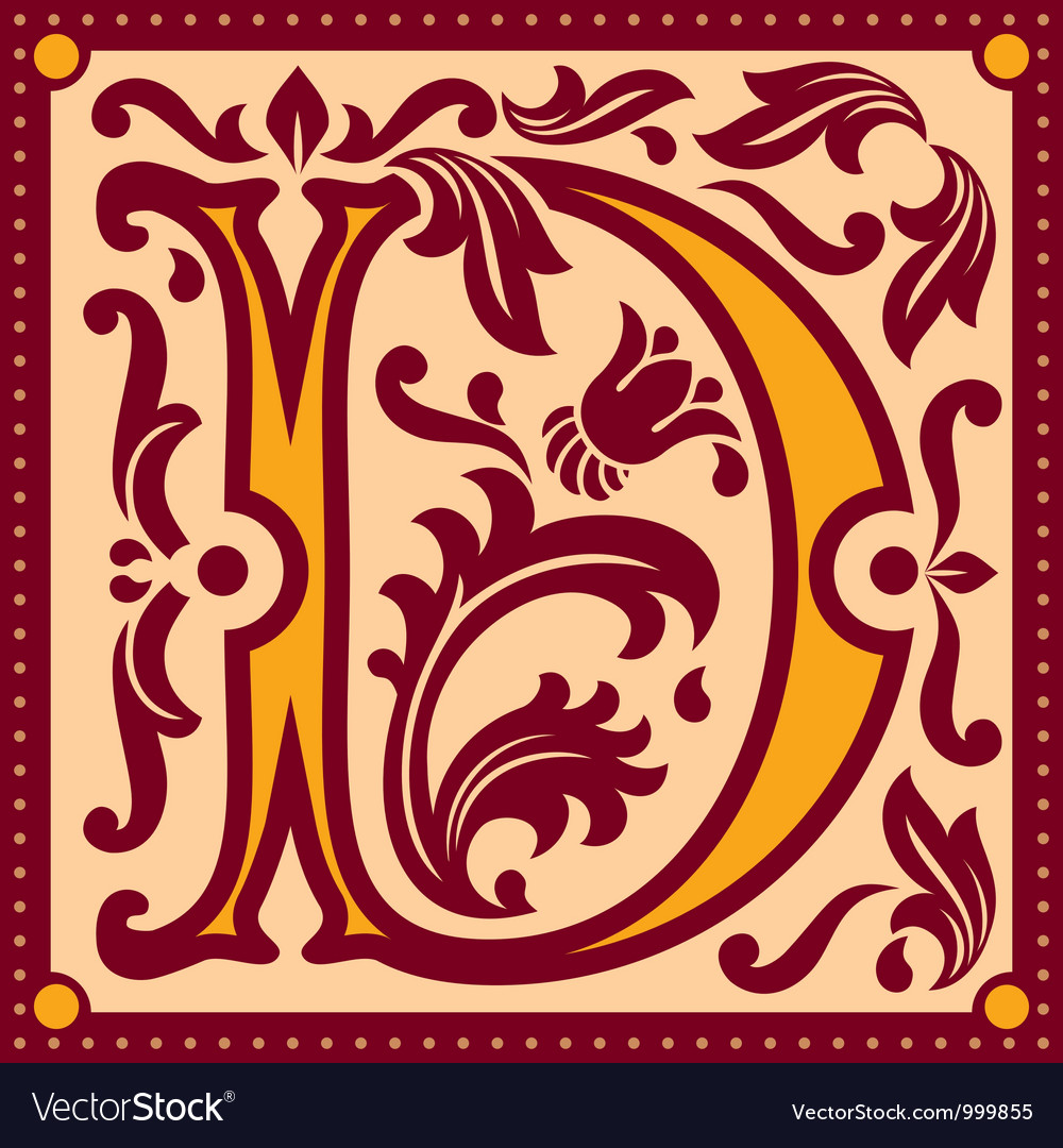 Vintage letter d vector | Price: 1 Credit (USD $1)