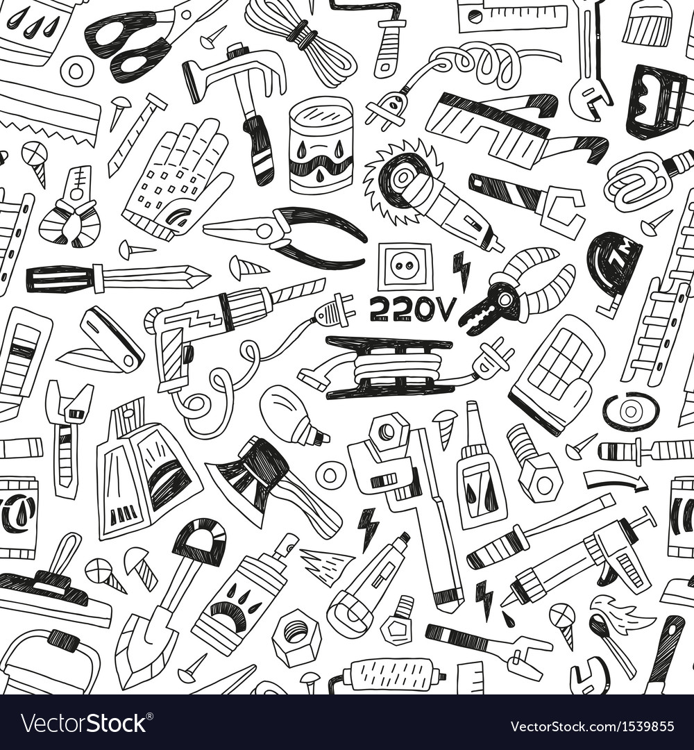 Work tools - seamless background vector | Price: 1 Credit (USD $1)