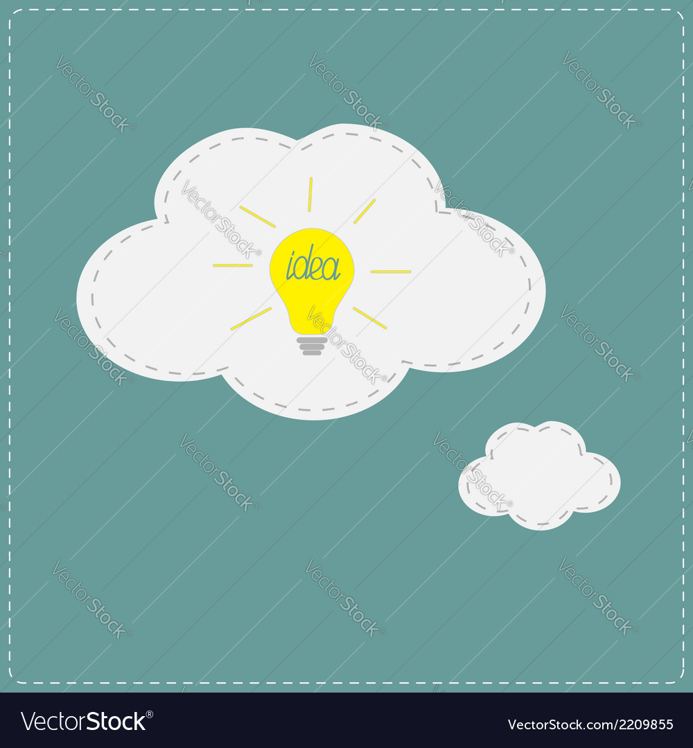 Yellow idea light bulb in speech and thought vector | Price: 1 Credit (USD $1)