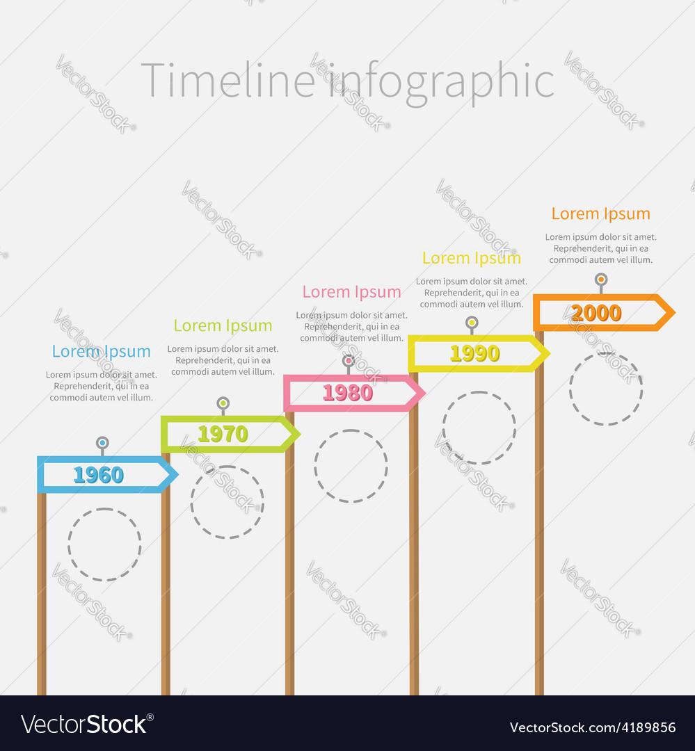 Arrow flag on sticks timeline infographic circle vector | Price: 1 Credit (USD $1)