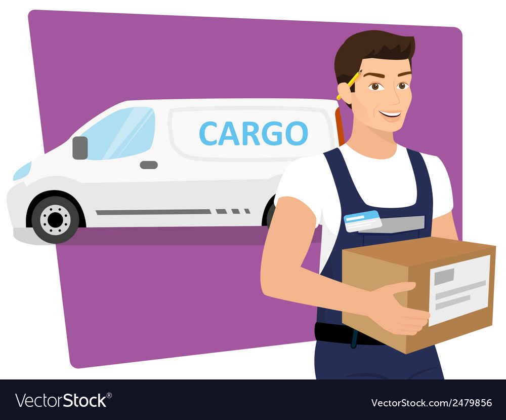 Delivery service man with a box in his hands and vector | Price: 1 Credit (USD $1)
