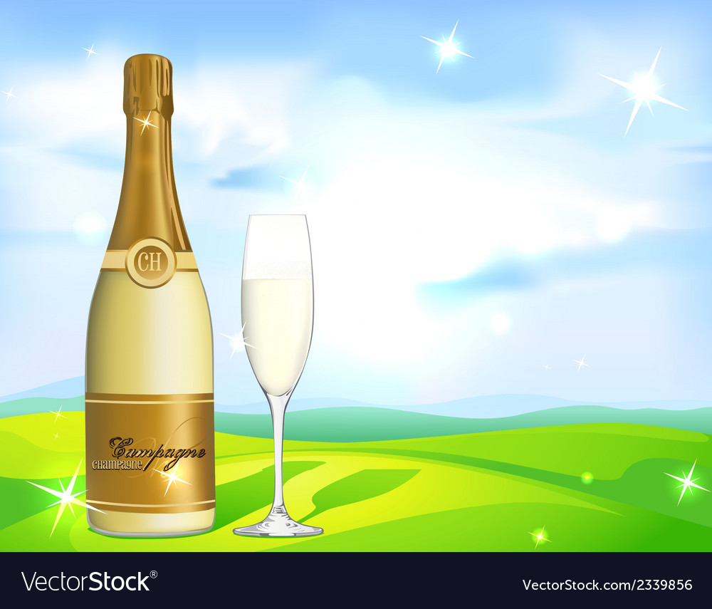 Glass of champagne and bottle on natural vector | Price: 1 Credit (USD $1)