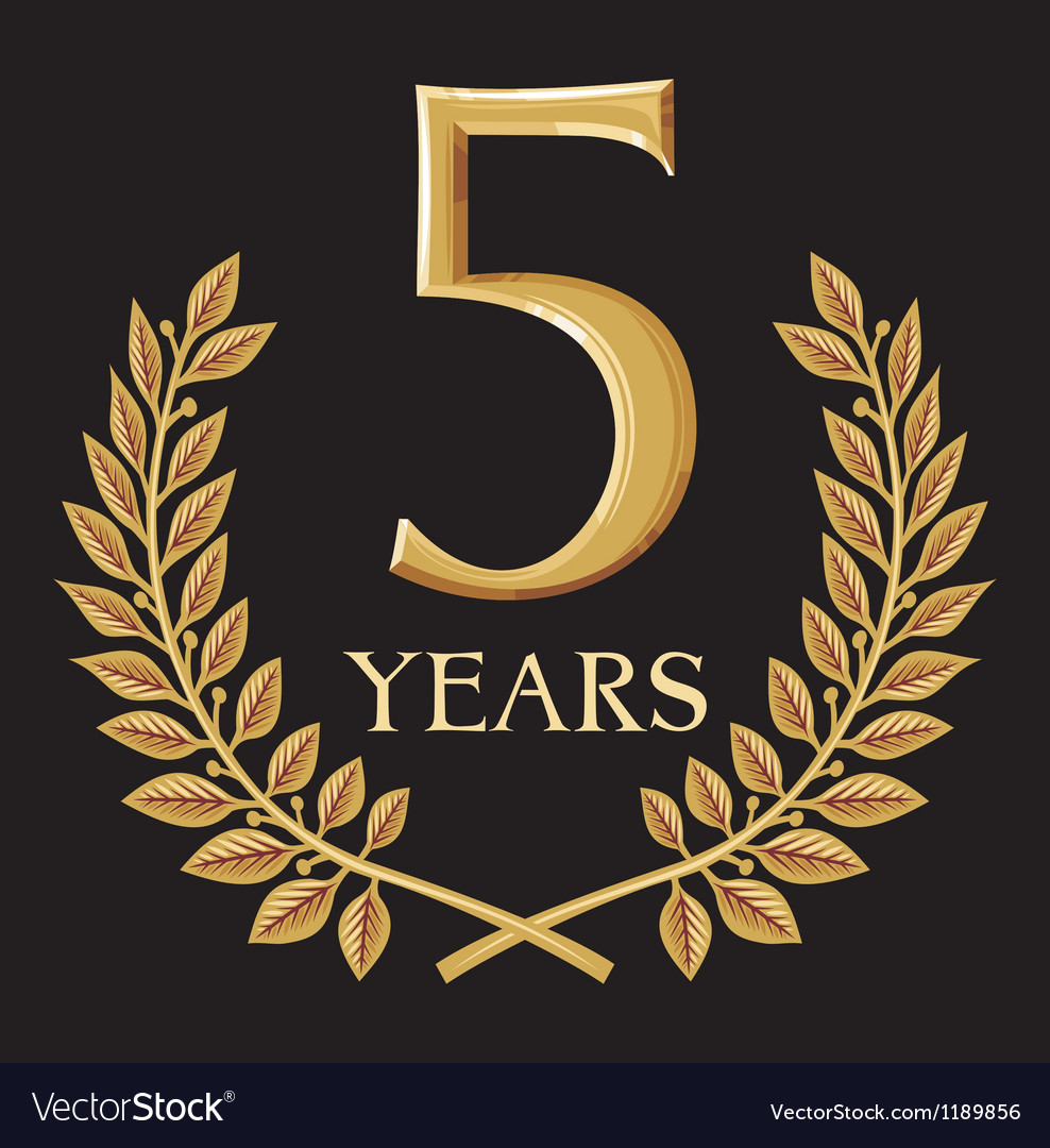 Golden laurel wreath 5 year vector | Price: 1 Credit (USD $1)