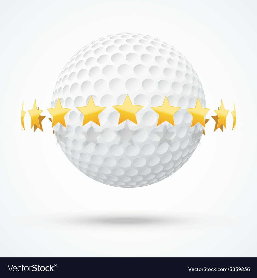 Golf ball with golden stars vector | Price: 1 Credit (USD $1)