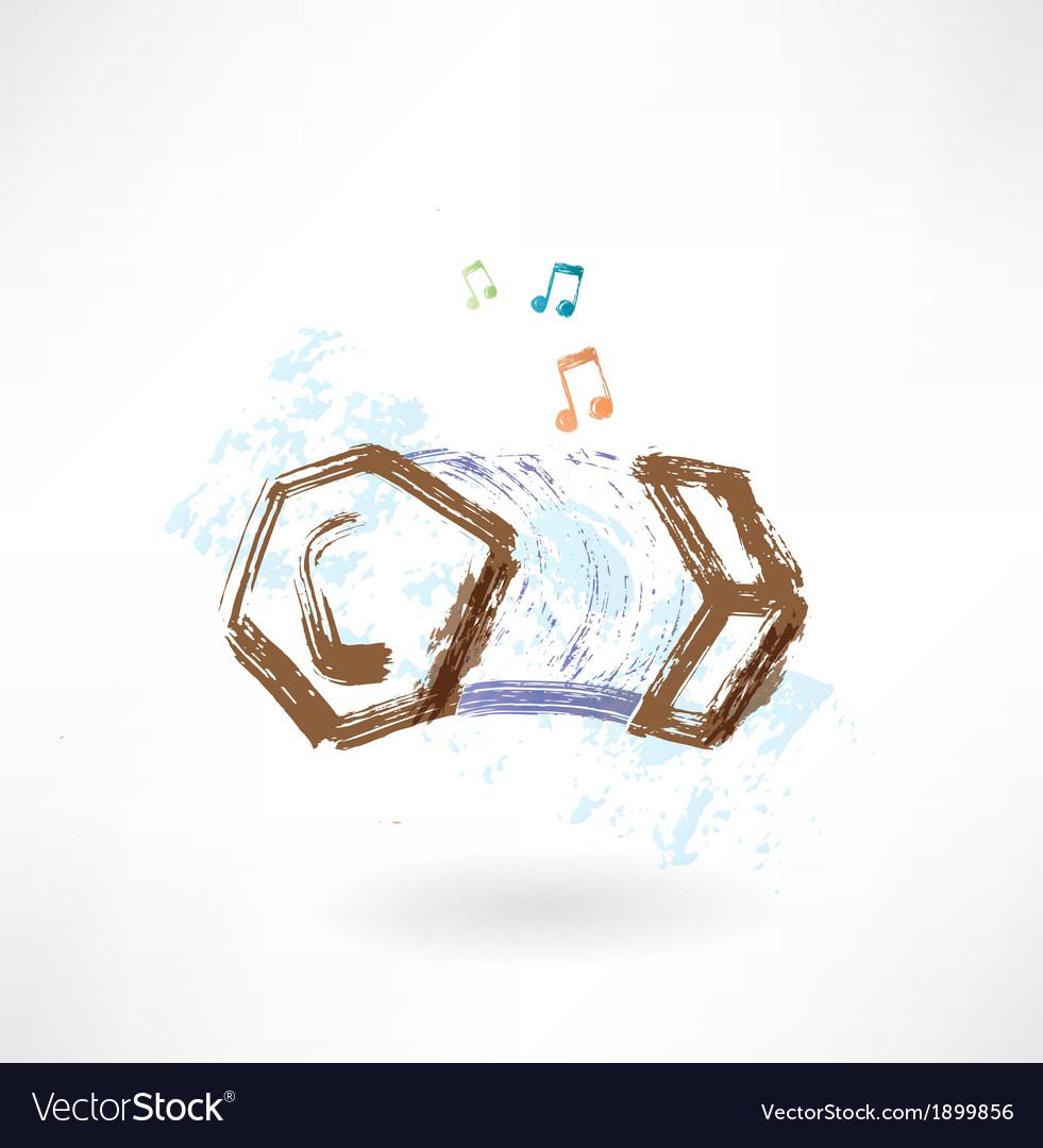 Hand harmonica grunge icon vector | Price: 1 Credit (USD $1)