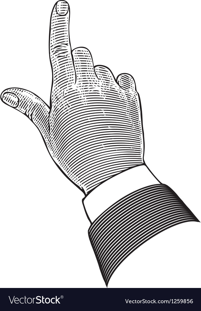 Hand with pointing finger in engraving style vector | Price: 1 Credit (USD $1)