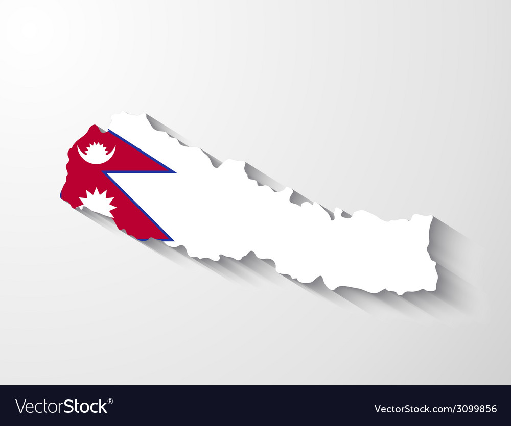 Nepal map with shadow effect vector | Price: 1 Credit (USD $1)