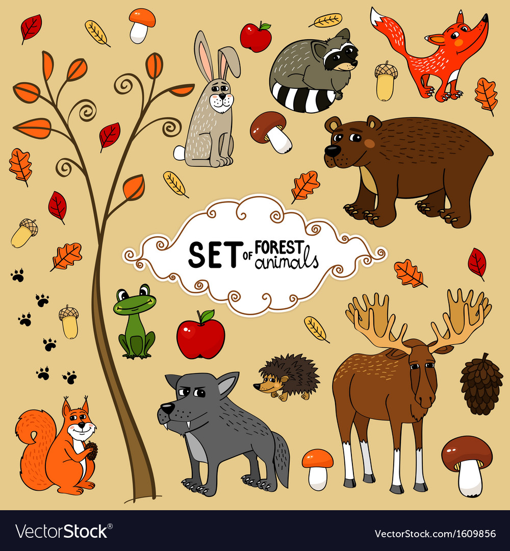 North forest animals vector | Price: 1 Credit (USD $1)