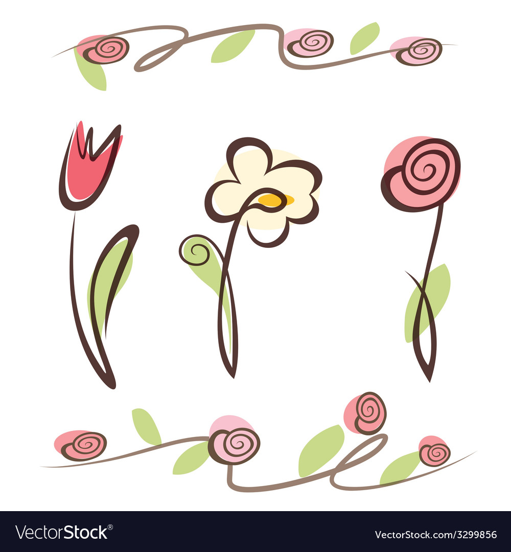 Outlined hand drawn flower collection vector | Price: 1 Credit (USD $1)