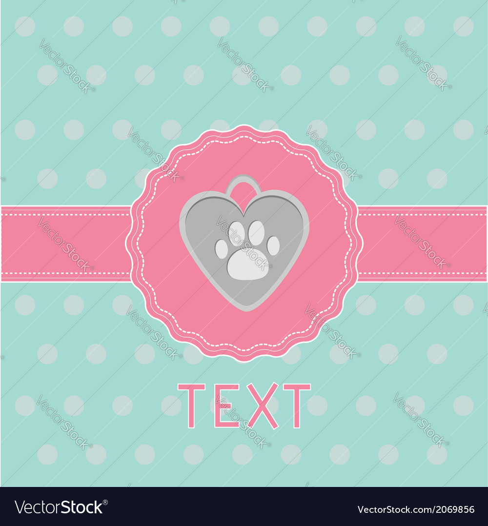 Pink ribbon and label with dogs pendant card vector | Price: 1 Credit (USD $1)