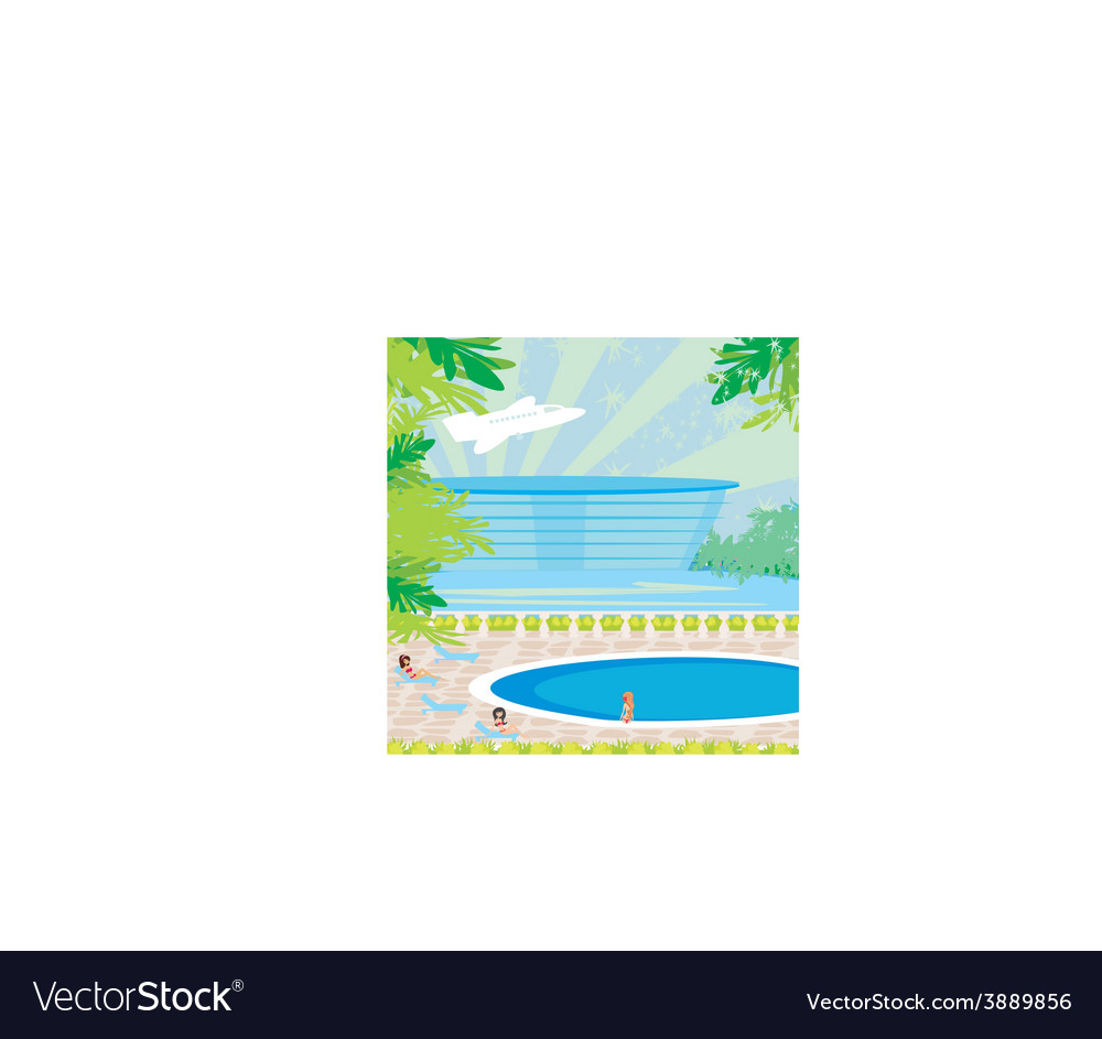 Relaxing tropical swimming pool vector | Price: 1 Credit (USD $1)
