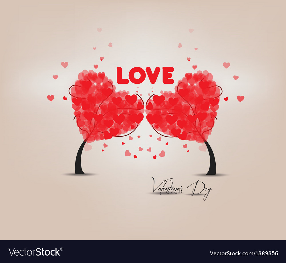 Two trees heart valentines vector | Price: 1 Credit (USD $1)