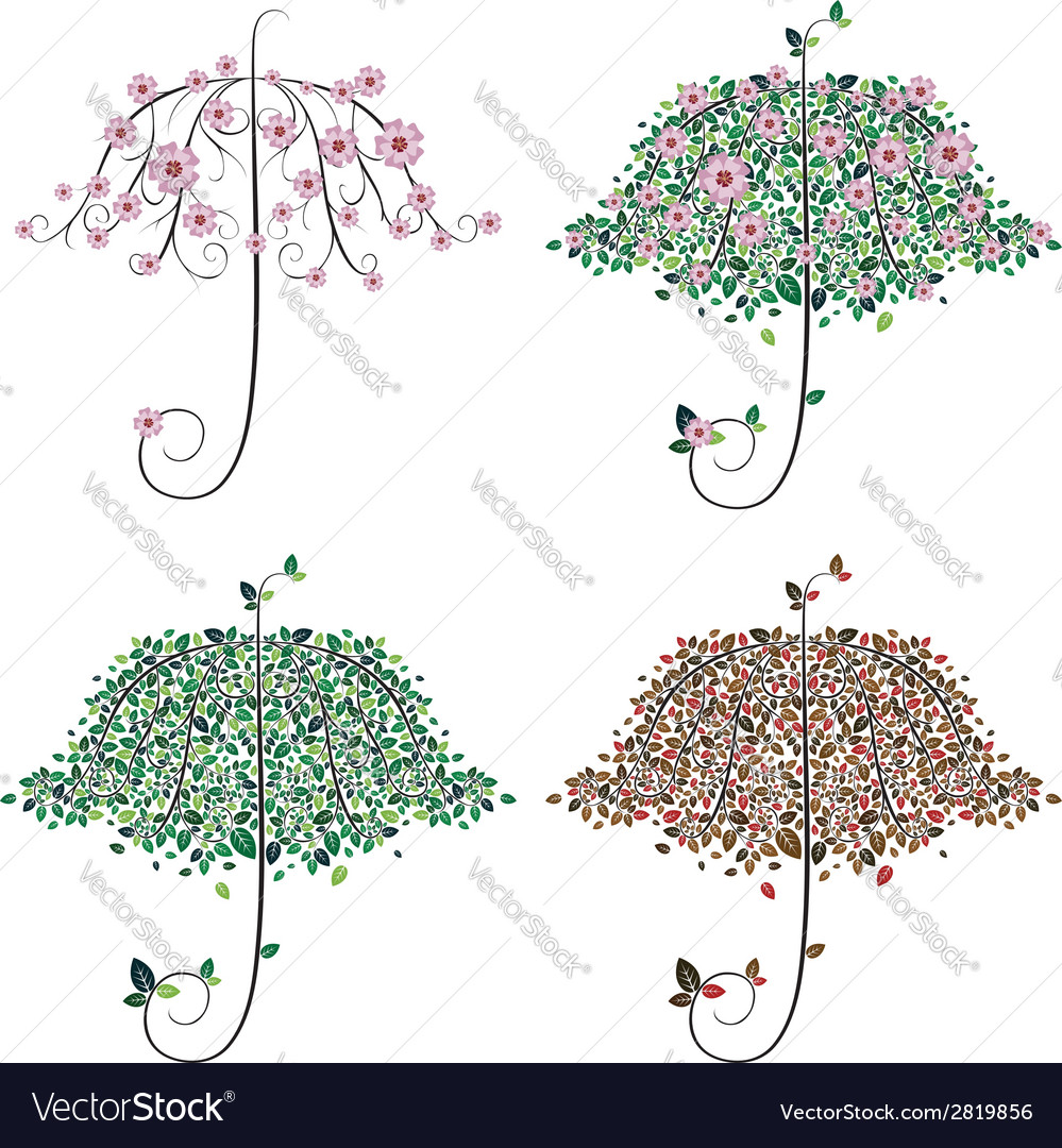 Umbrella shape tree vector | Price: 1 Credit (USD $1)