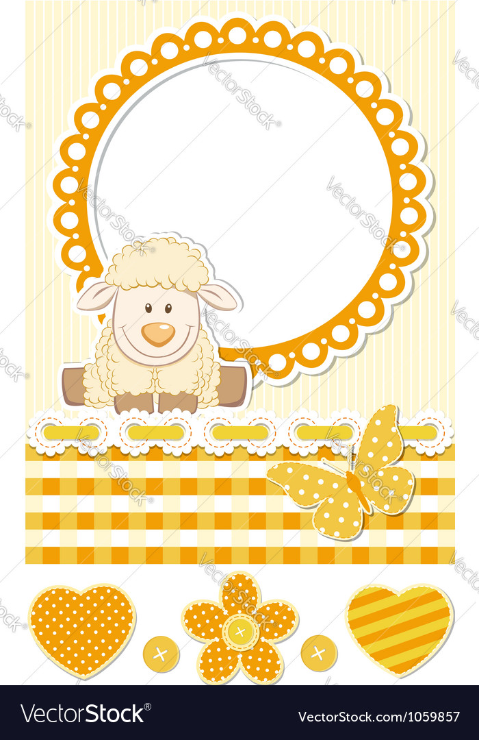 Baby sheep sunny scrapbook set vector | Price:  Credit (USD $)