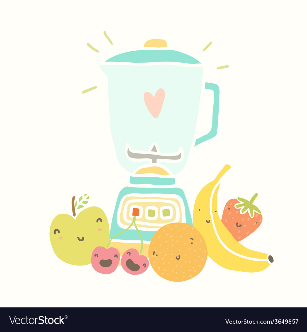 Blender and funny fruits for smoothie vector | Price: 1 Credit (USD $1)