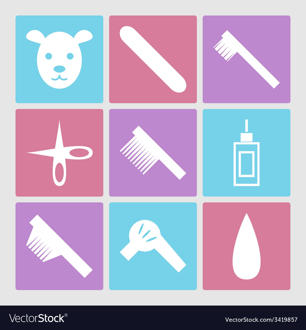 Dog grooming icons set or pet hair salon vector | Price: 1 Credit (USD $1)