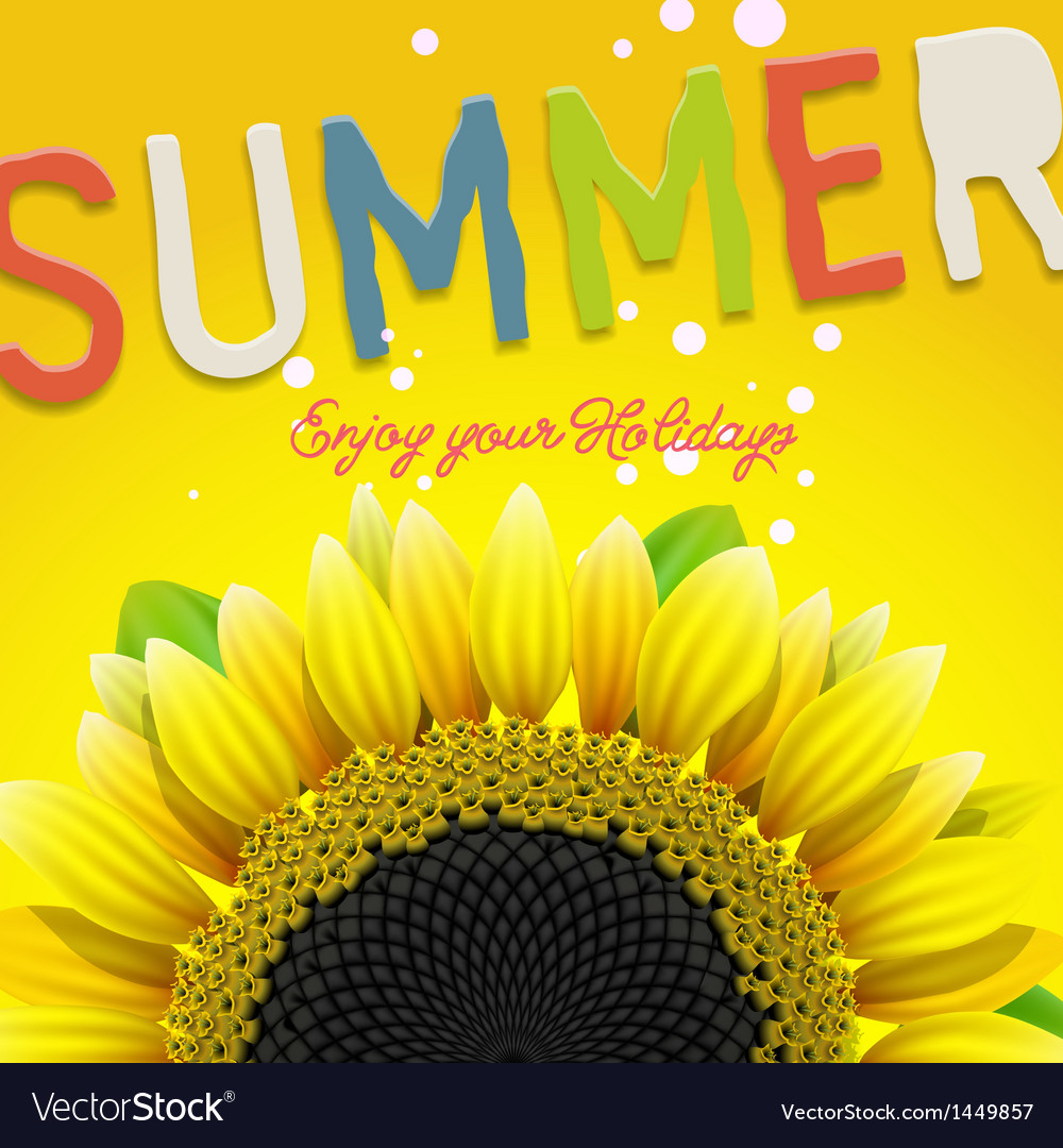 Floral summer background with sunflower vector | Price: 1 Credit (USD $1)