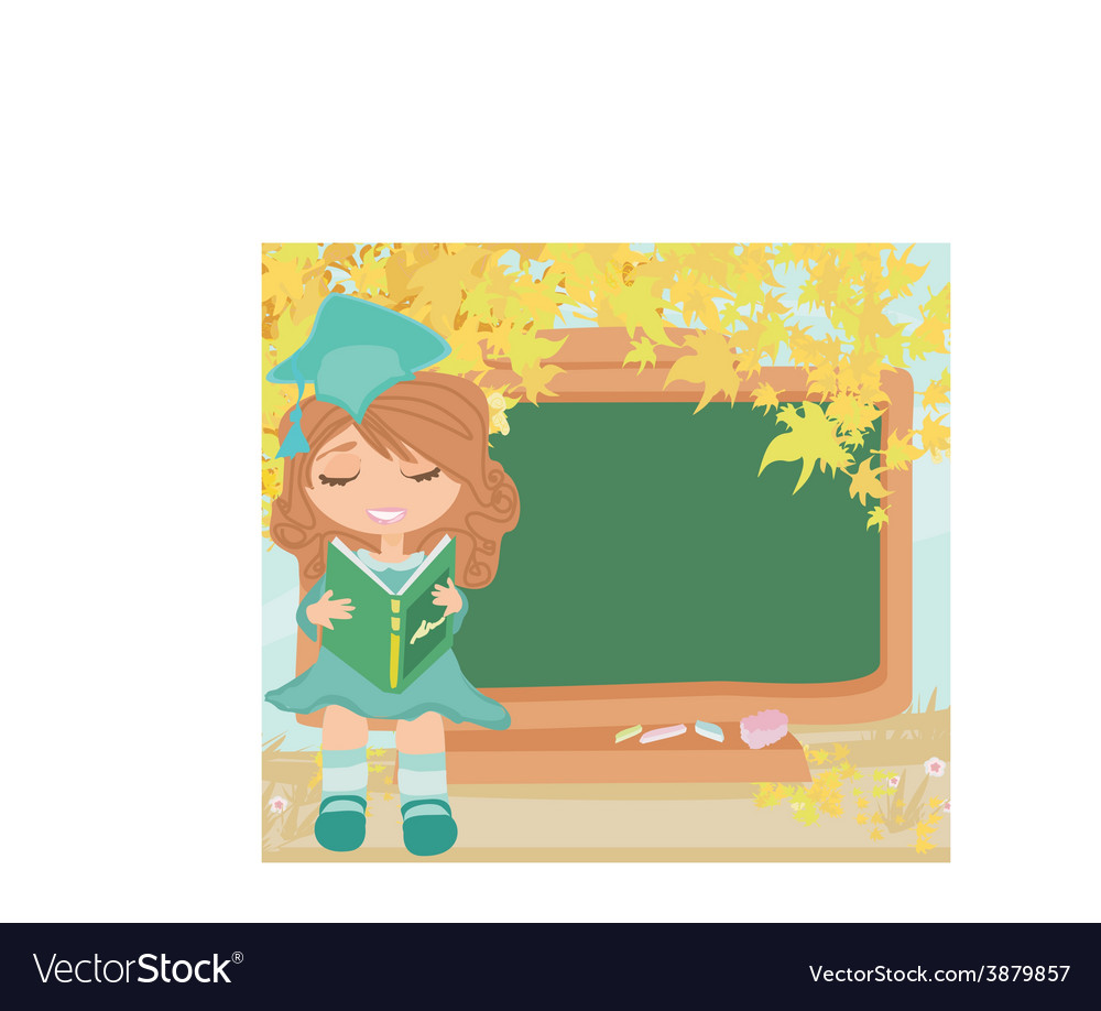 Green chalkboard with autumn leaves and schoolgirl vector | Price: 1 Credit (USD $1)