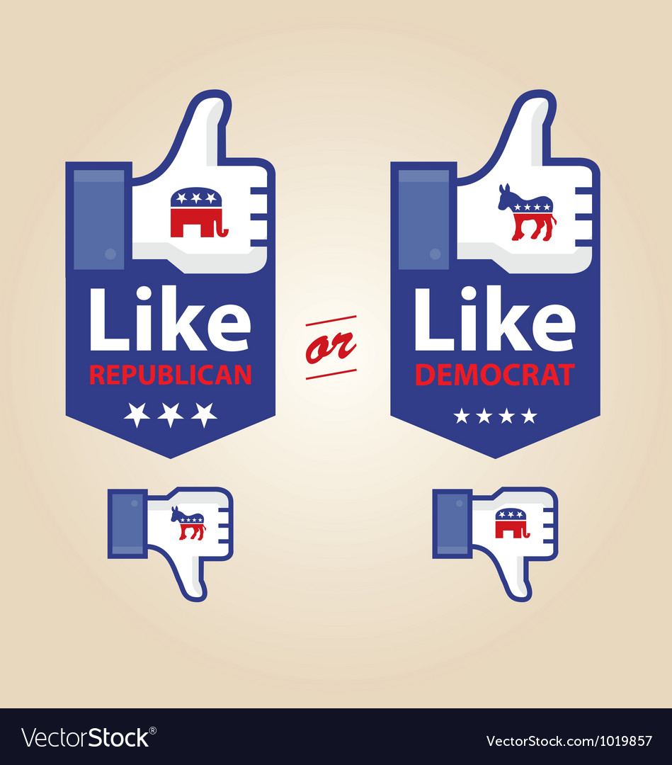 Like republican or democrat presidential election vector | Price: 1 Credit (USD $1)