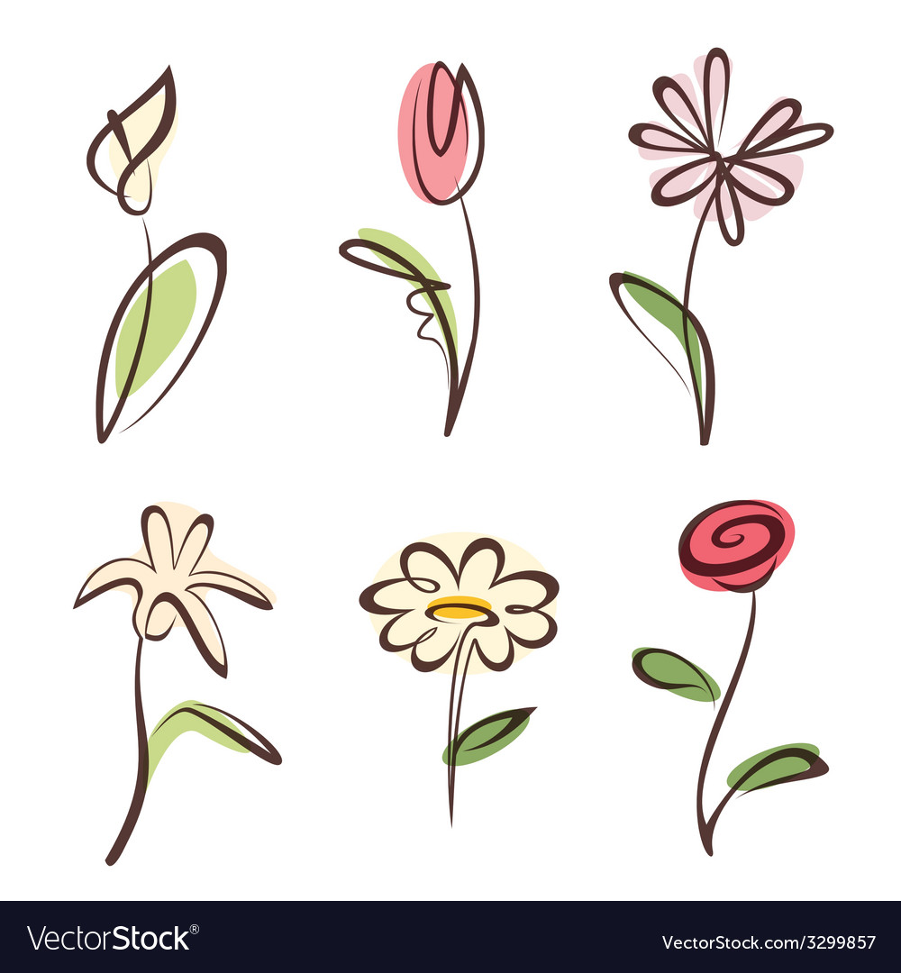 Outlined hand drawn flower collection design vector | Price: 1 Credit (USD $1)