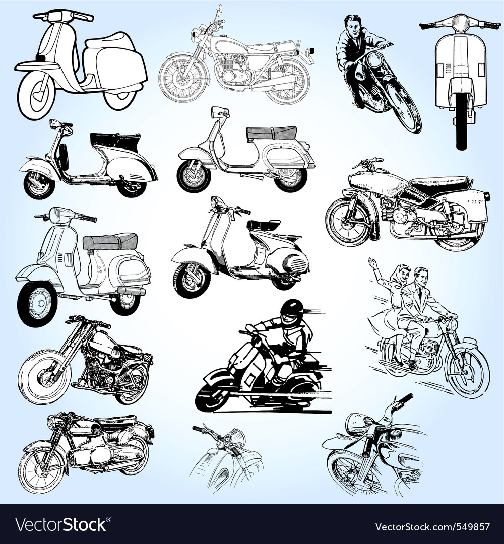 Scooter sketches vector | Price: 1 Credit (USD $1)