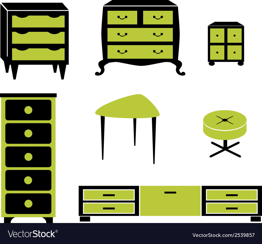 Set silhouettes of cupboard chests black interior vector | Price: 1 Credit (USD $1)