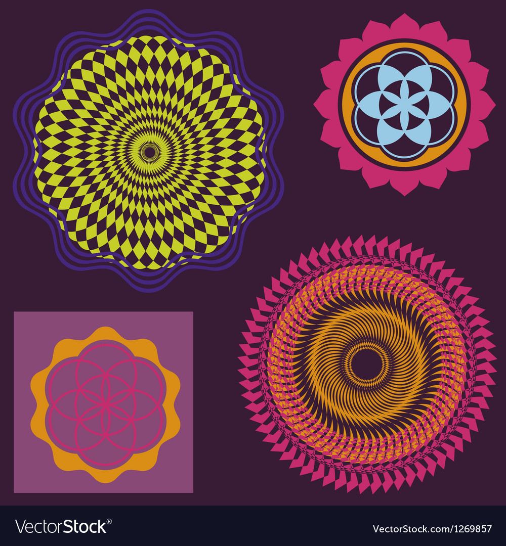 Spring floral meditation elements collection vector | Price: 1 Credit (USD $1)