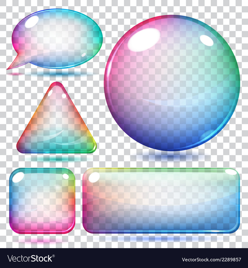 Transparent multicolor glass shapes vector | Price: 1 Credit (USD $1)