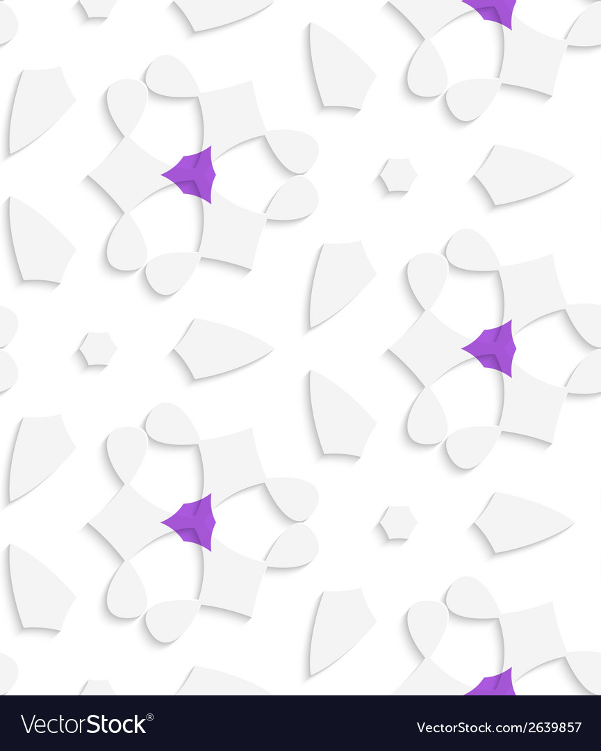 White geometrical floristic with purple seamless vector | Price: 1 Credit (USD $1)