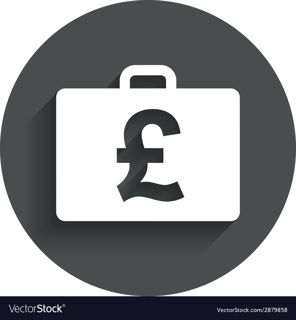 Case with pounds gbp sign briefcase button vector | Price: 1 Credit (USD $1)