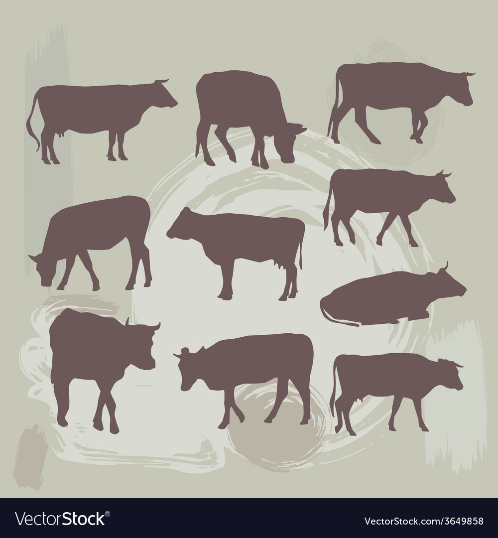 Cow set silhouette on grunge background vector | Price: 1 Credit (USD $1)